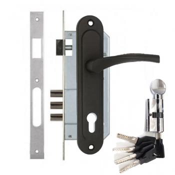 Дверний замок 2000 с ручками і циліндром (комплект) Чорний (порошок)