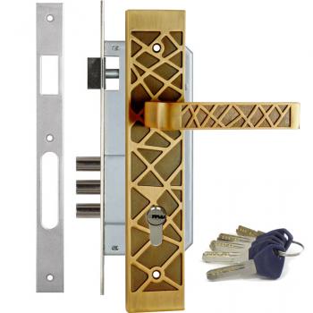 Дверной замок с ручкой Kale 152-3MR ARGO (+цилиндр Apecs EM)