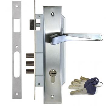 Дверной замок с ручкой Kale 152-3MR Ellada (+цилиндр Apecs EM)