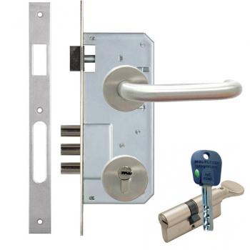 Дверной замок с ручкой из нержавейки Kale 152-3MR (+цилиндр mul-t-lock-integrator)