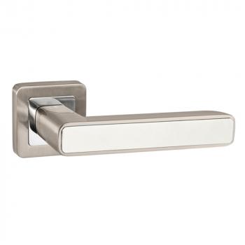 Дверные ручки PUNTO MARS QR SN/WH-19 матовый никель/белый