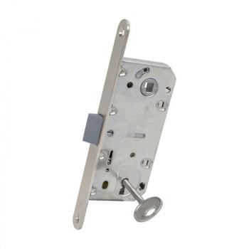 AGB Art. B011013506 Механизм для межкомнатных дверей Mediana Evolution узкий Patent с ключом никель 90мм