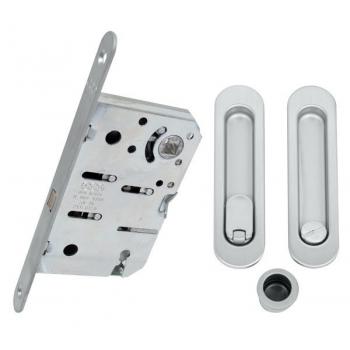 Комплект для розсувних дверей WC AGB KIT (ручка на раздва двері + механізм) матовий хром