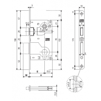 Механізм під циліндр AGB Centro Focus B040255022 антична бронза 85мм