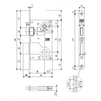 Механизм под цилиндр AGB Centro Focus B040255022 античная бронза 85мм