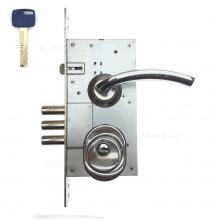 Замок дверний Kale 252R - врізна броненакладка та гібридний ключ Apecs-XR