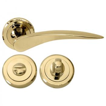 Дверна ручка RDA Novella PVD з накладками-поворотниками титанове золото
