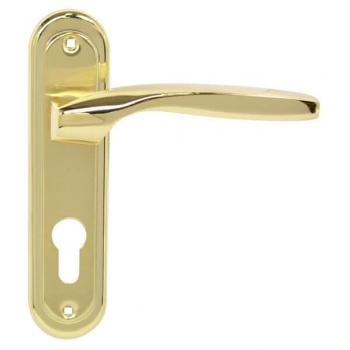 Ручка на планке RDA Arona полированная латунь/матовая латунь под ключ (под замок 1025 одноригельный)