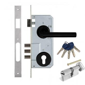 Дверной замок с ручкой Kale 152-3MR CONDI BLACK Apecs EM