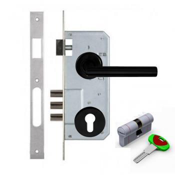 Дверной замок с ручкой Kale 152-3MR CONDI BLACK SECUREMME K22