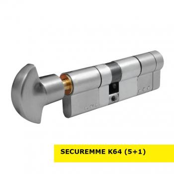Цилиндр замка SECUREMME K64 ключ-тумблер (мат хром)